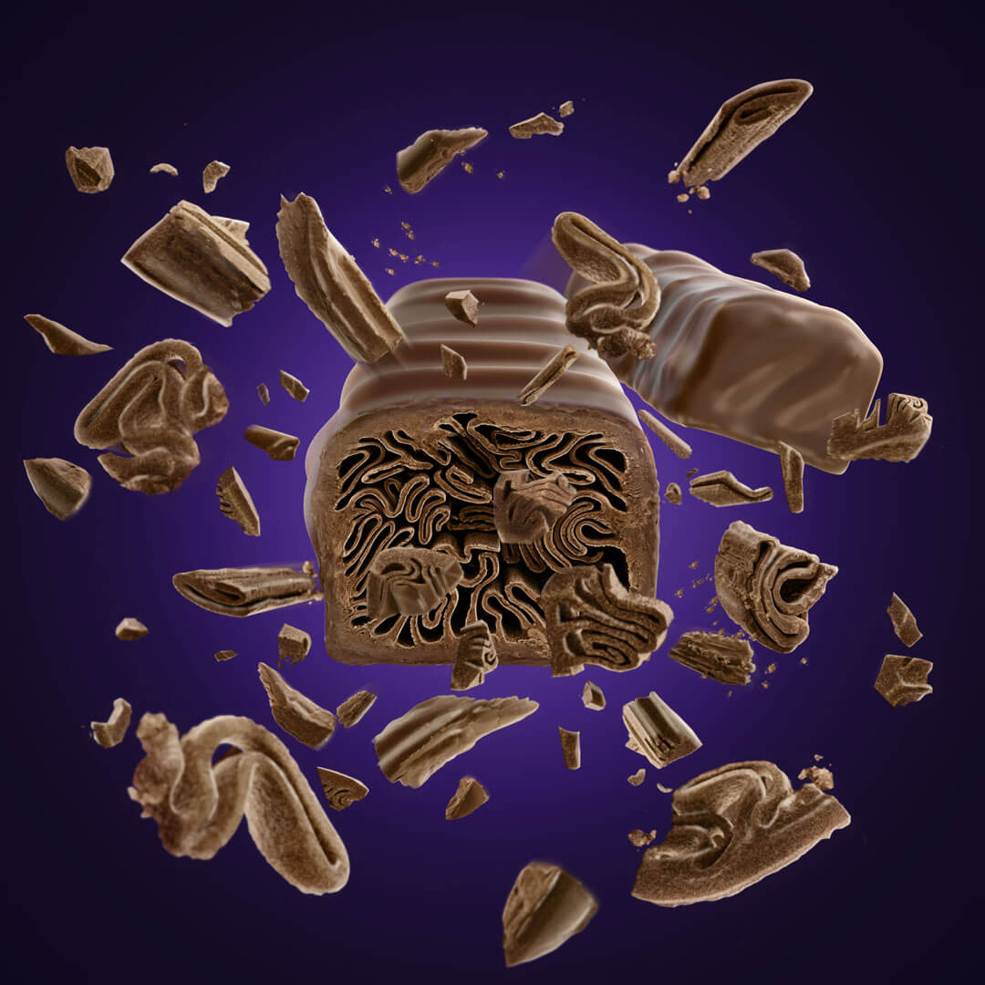 computer generated image of chocolate bar exploding