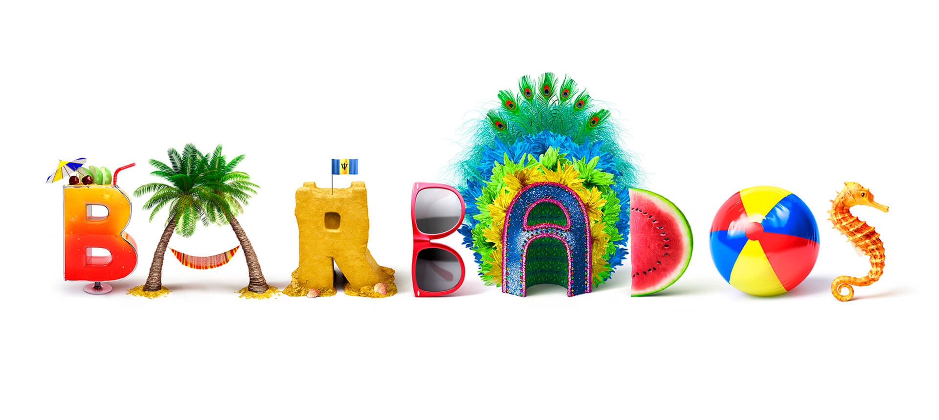 fun playful 3d model of the word barbados, cg modelled letters rendered in softimage