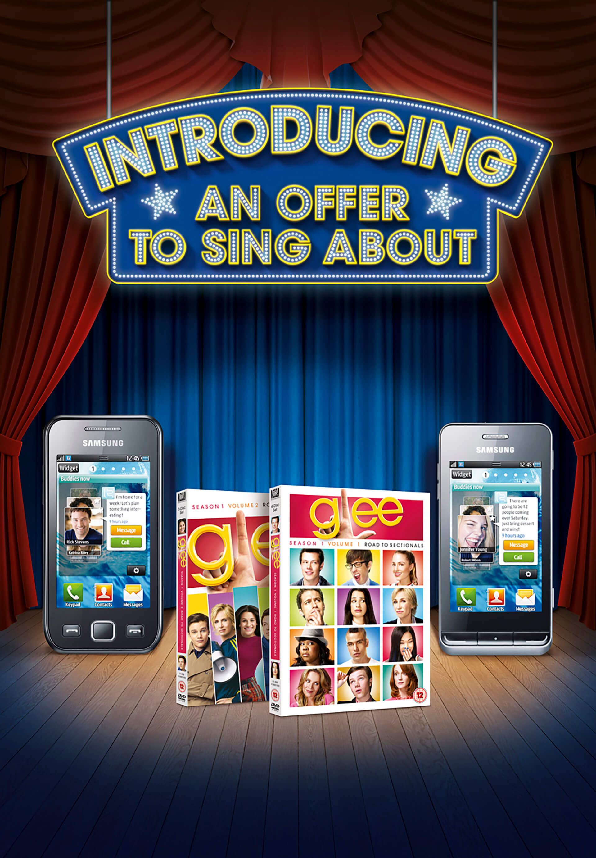 3d stage and cg text built and rendered in 3d package maya. Image created for O2 to promote the tv show Glee