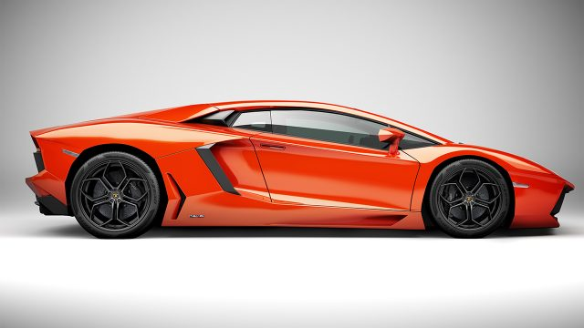 Computer generated image of a Lamborghini sports car painted orange side view