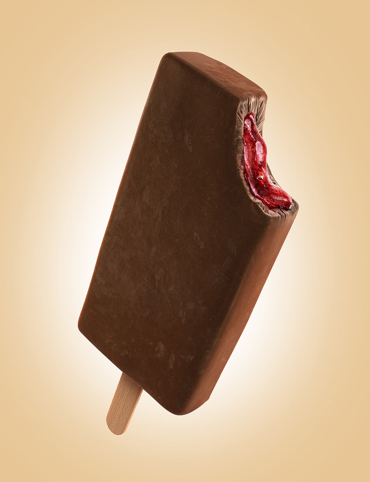 Computer generated image of a chocolate ice lolly with a bite taken showing fruit filling