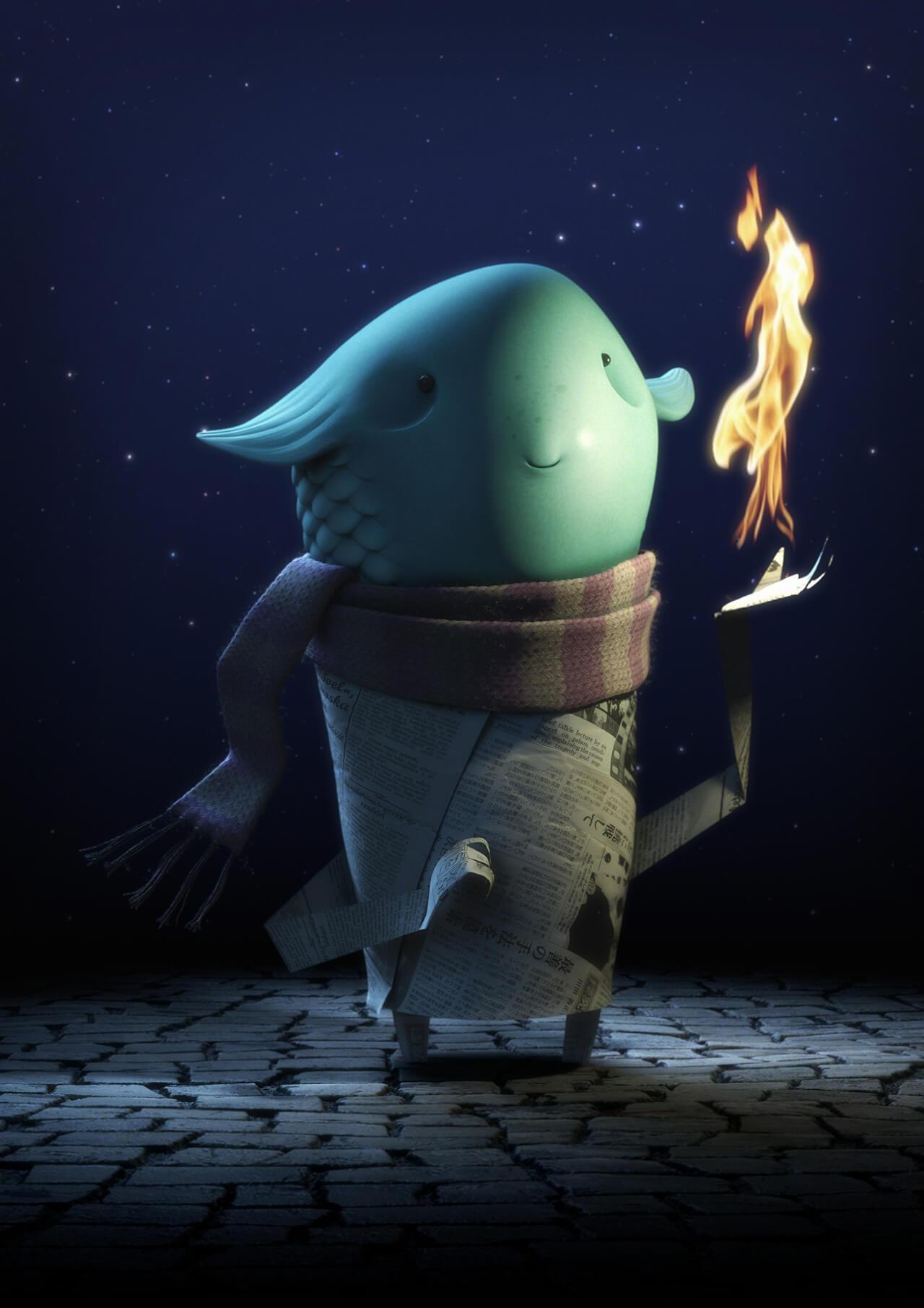 Computer generated fish character image