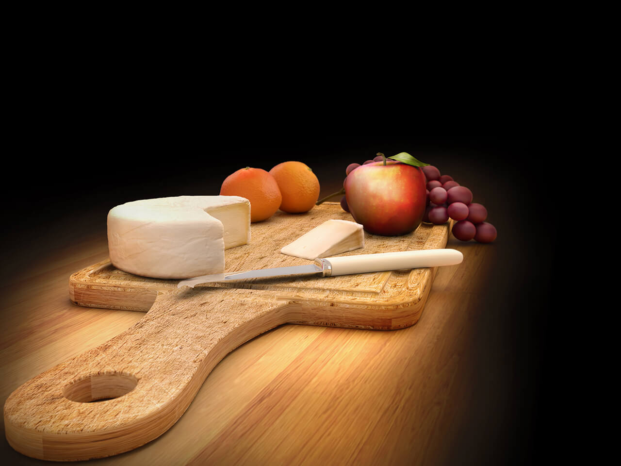 A computer generated image of a cheese board with fruit and knife