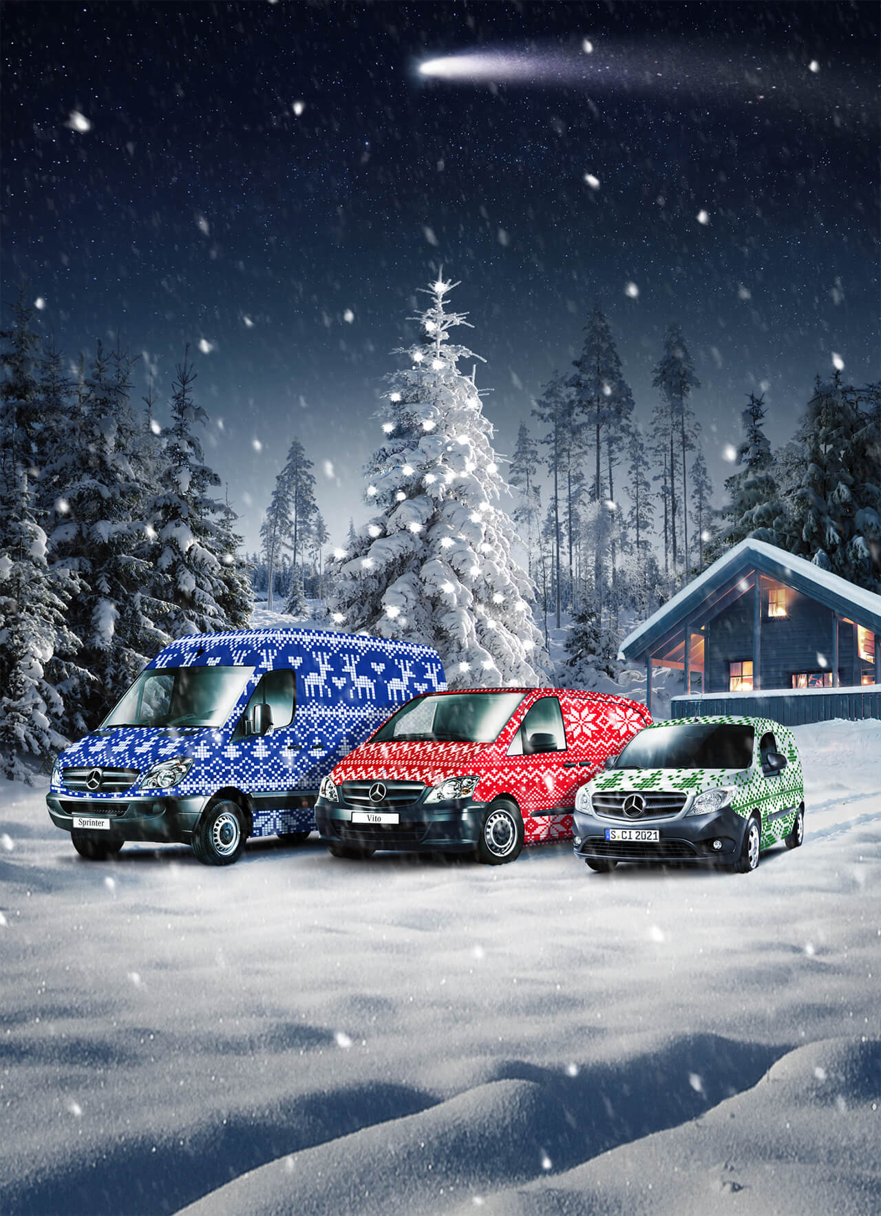 Image of three different size Mercedes Vans Each with Christmas Paint Job in a Winter Christmas scene