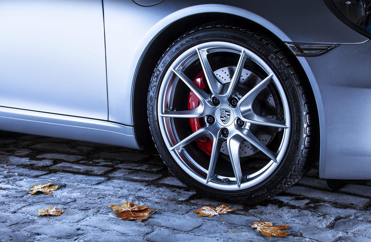 Close up Image of Porsche Sports Car Wheel