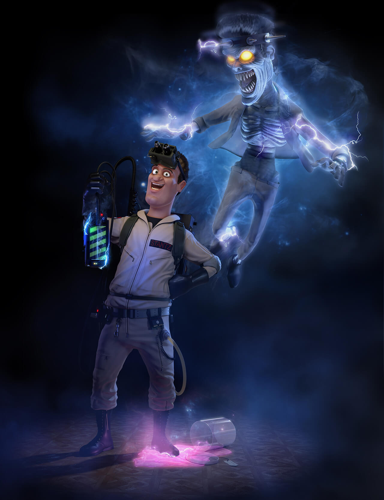 Ray Stantz Computer Generated Rendered Caricature Ghostbusters