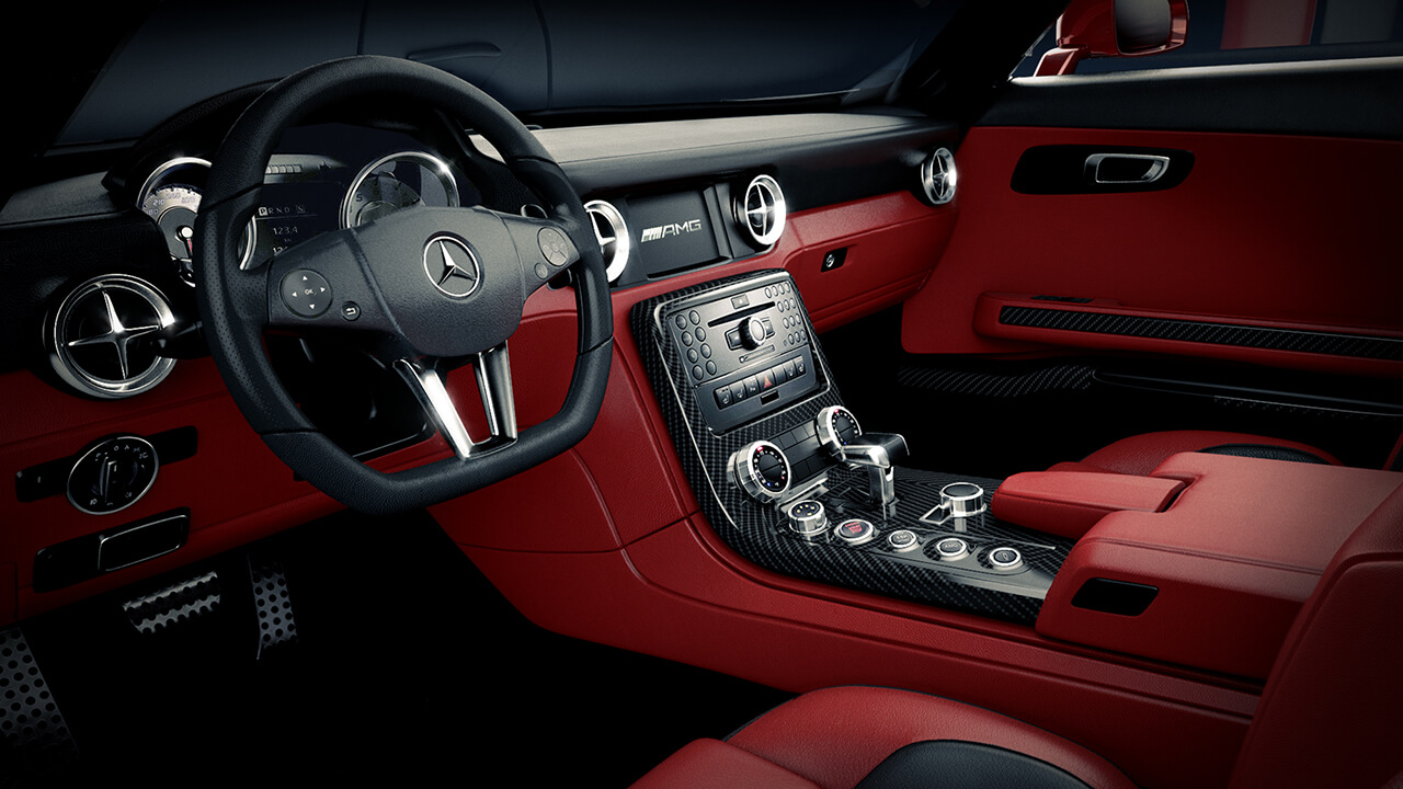 Computer Generated Image of Interior Of Mercedes SLS showing dashboard, red leather seats and trim