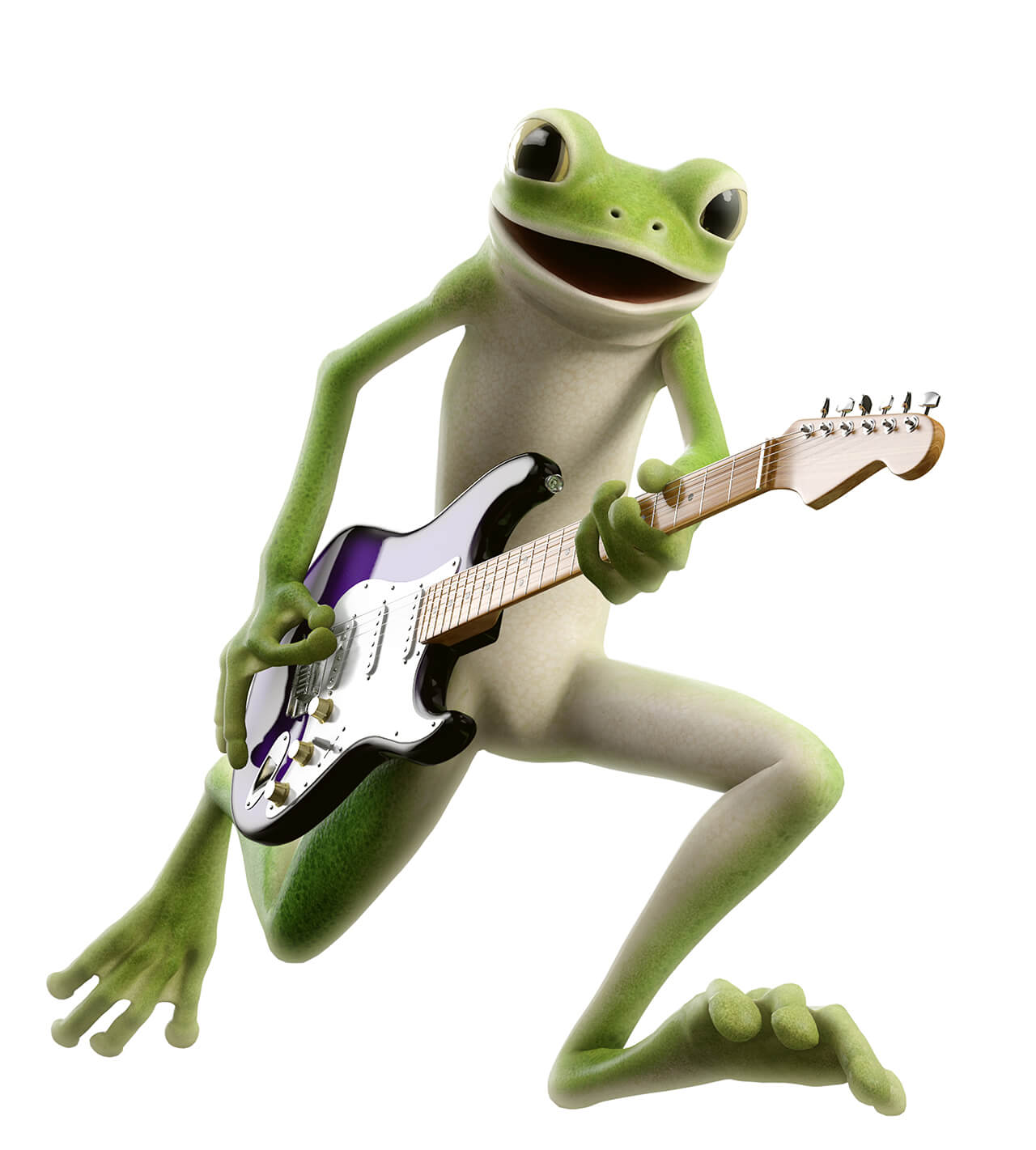Computer generated image of a human like frog character playing a guitar
