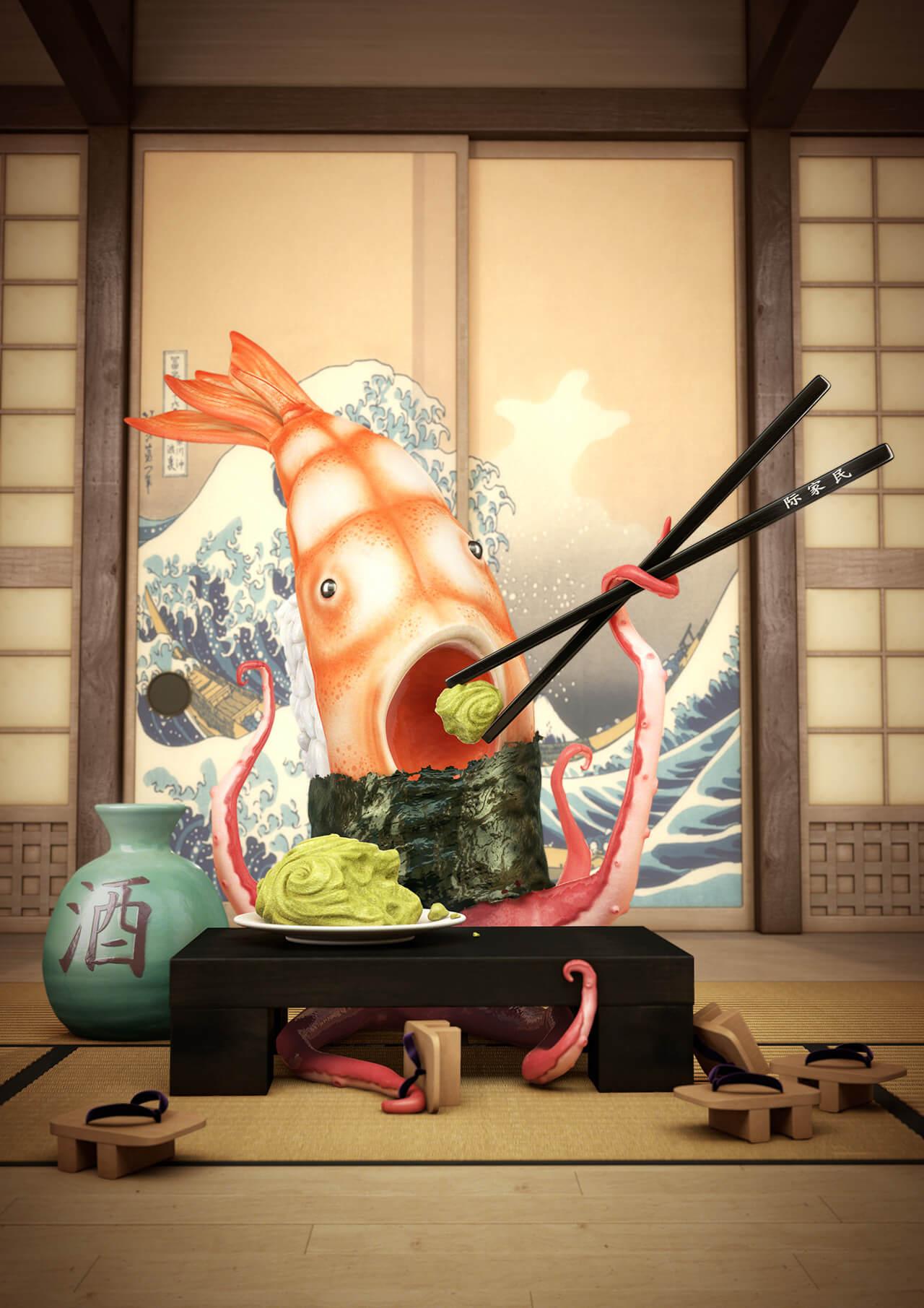 Computer generated Sushi Fish Character Creation