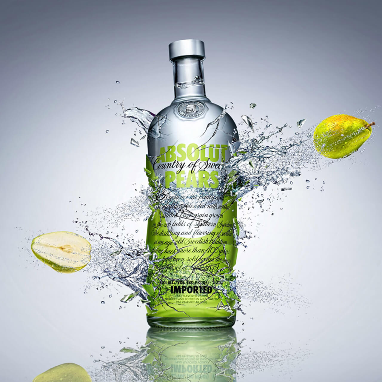A computer Generated Image of a bottle shattering and liquid splashing and pears flying out
