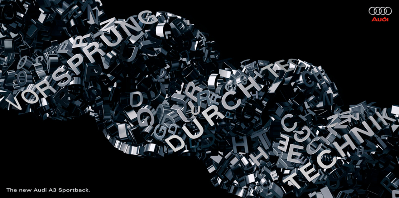 A computer generated twisting word image with lots of letters and spelling out vorsprung durch technik