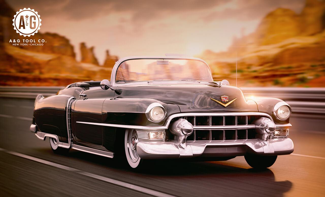 Computer Generated Render of Cadillac Driving along highway at dawn