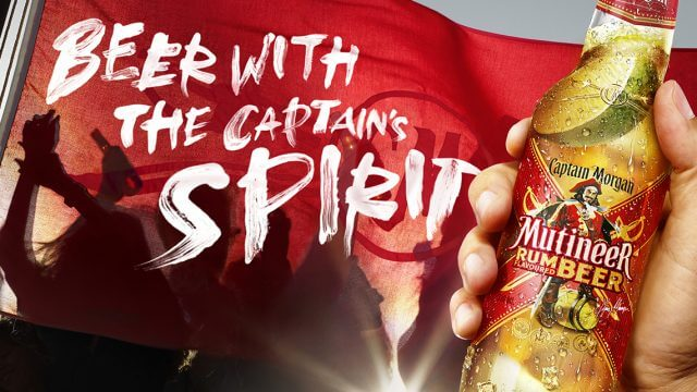 Computer Generated Image Of Captain Morgan Rum Beer with people partying and flag waving in background
