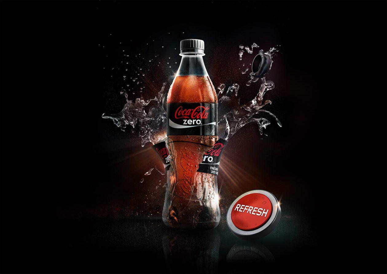 Imaginar CGI Company 3D illustration of Coke Bottle and liquid