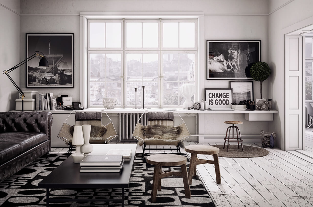 Computer Generated Image of city apartment for young professionals