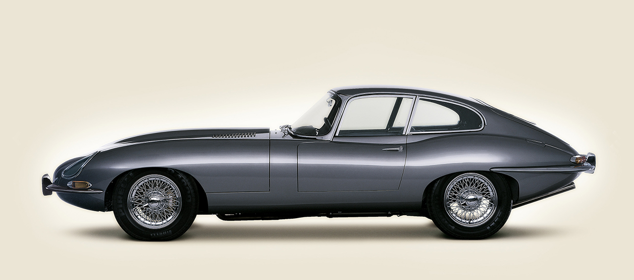Image of side view of E Type Jaguar sports car