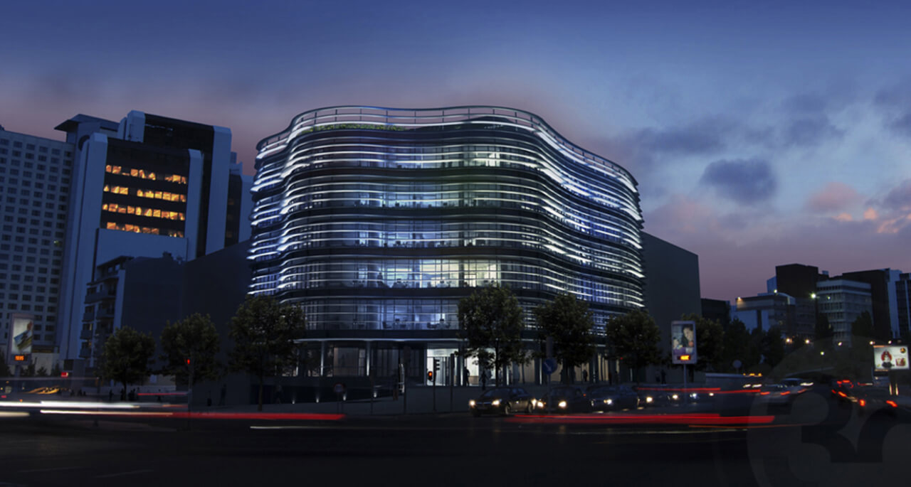 Computer Generated Image of modern glass building lit up at night