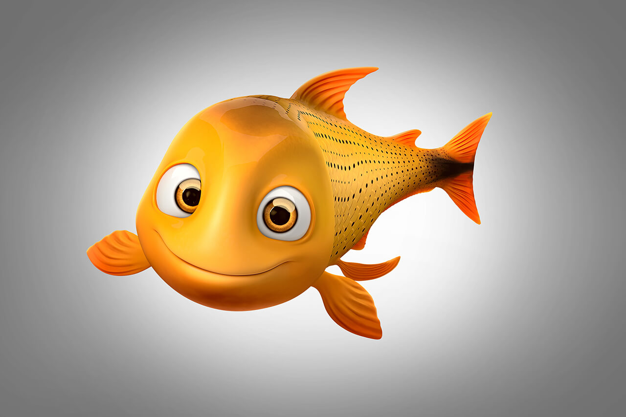 Computer generated image of friendly gold fish character