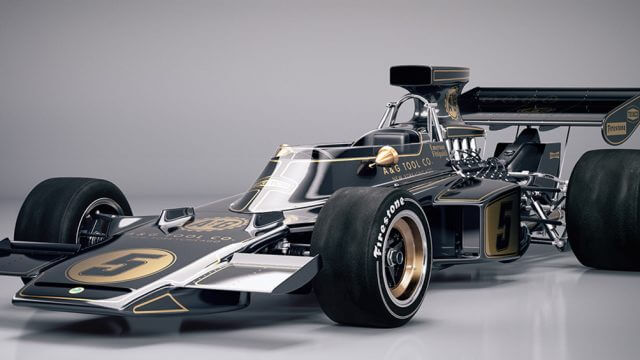 Image of a classic formula one racing car painted black and gold