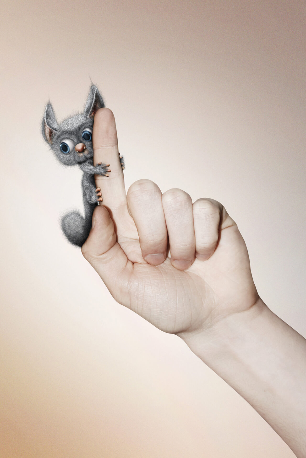 Computer generated Image of a friendly furry animal grabbing onto a hand