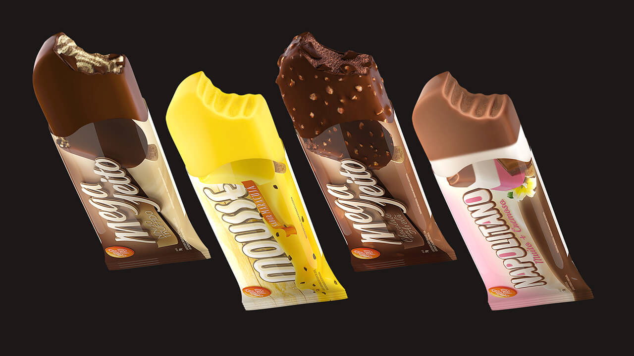A computer generated image of 4 different flavour ice lollies