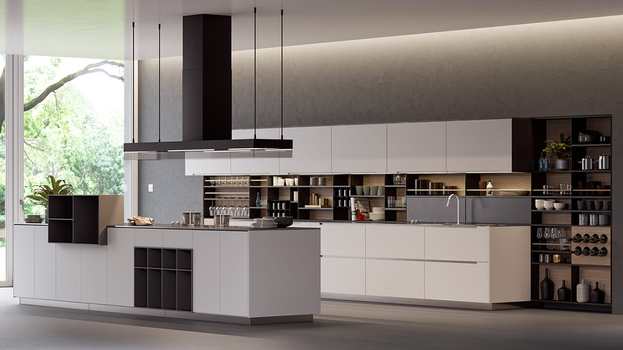 Computer Generated Render Of Modern Italian Kitchen With Island and Open shelving