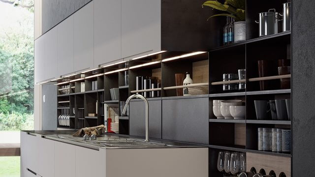 Computer Generated Image of Italian Kitchen Units and sink