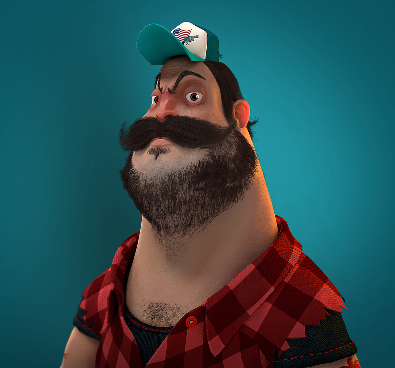 Computer Generated Image of a lumberjack caricature