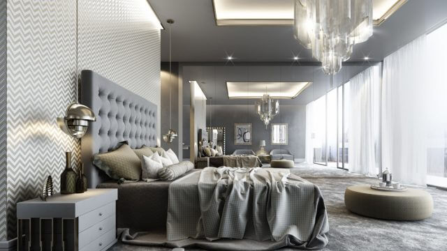 Computer Generated Interior Render of Luxurious Grey Bedroom