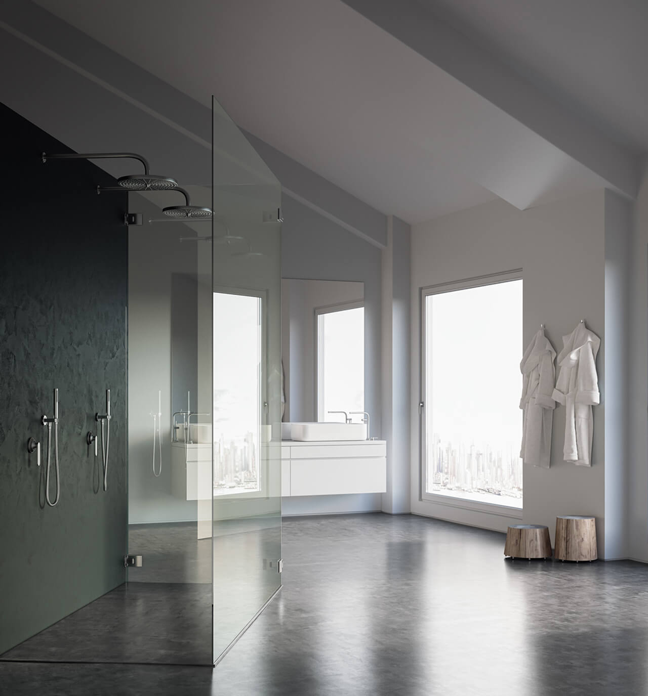 Computer Generate Image Of spacious modern bathroom with walk in shower