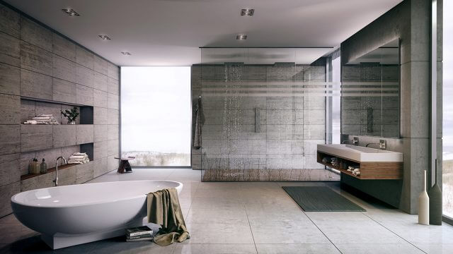 Computer Generated Image Of luxury bathroom with freestanding bath walk in shower