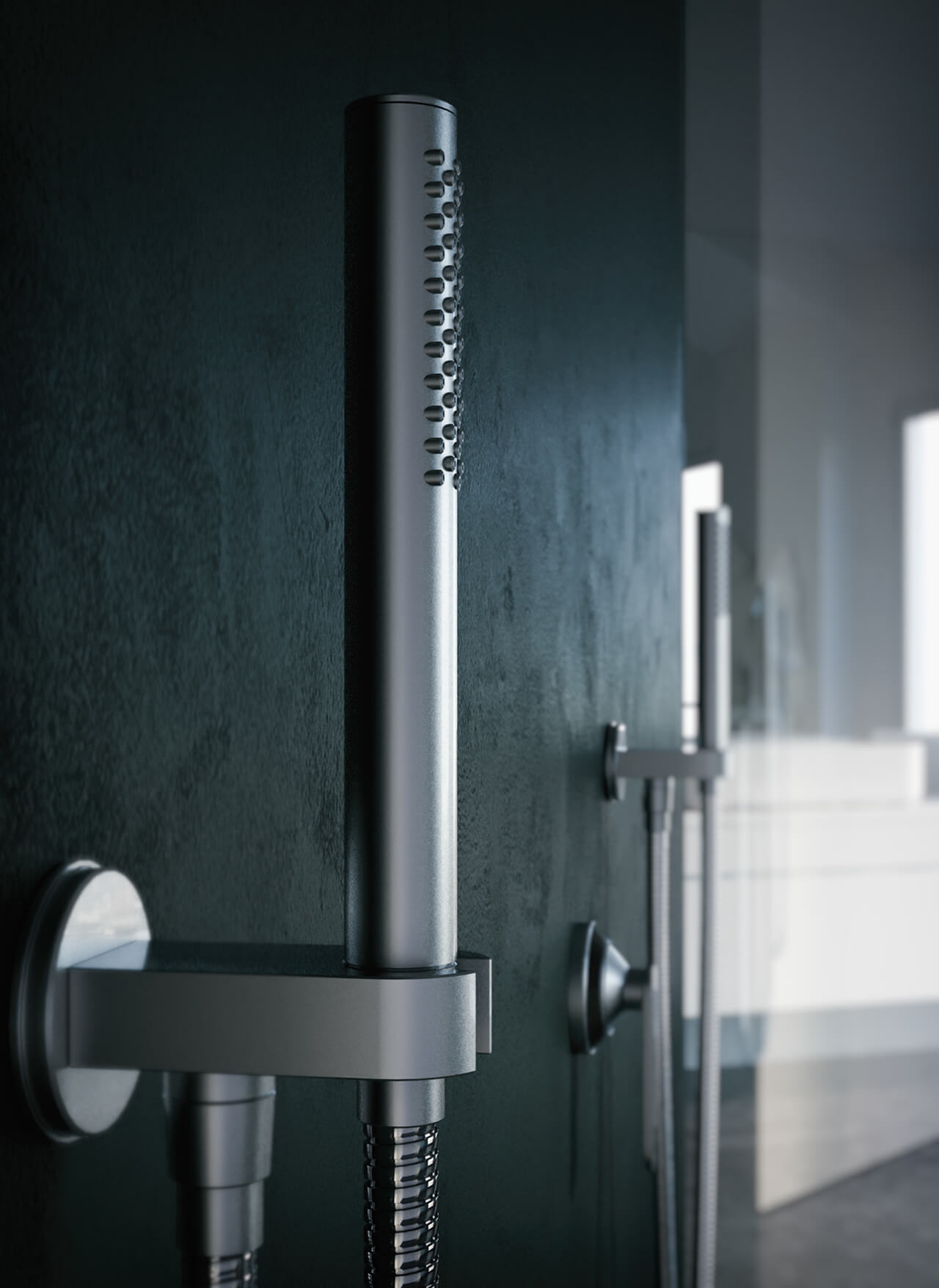Computer Generated image showing hand held shower attachment close up
