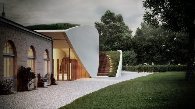 Computer Generated Exterior Render of extension with grass roof