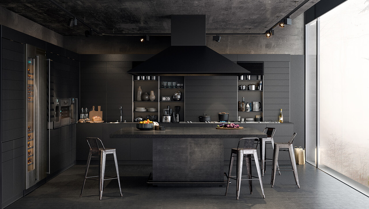 Computer Generated Interior Render Of Modern Kitchen Finished in Mat Black