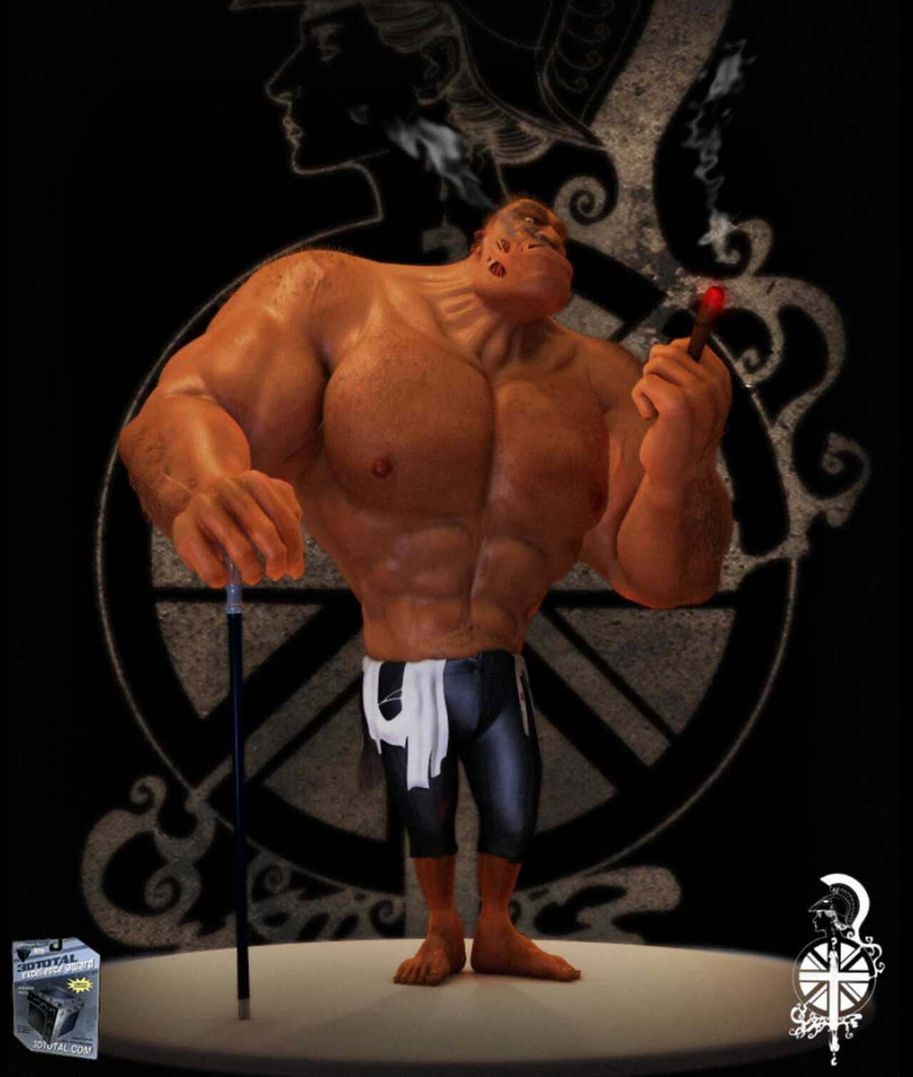 Computer Generated Muscle Man Character Creation