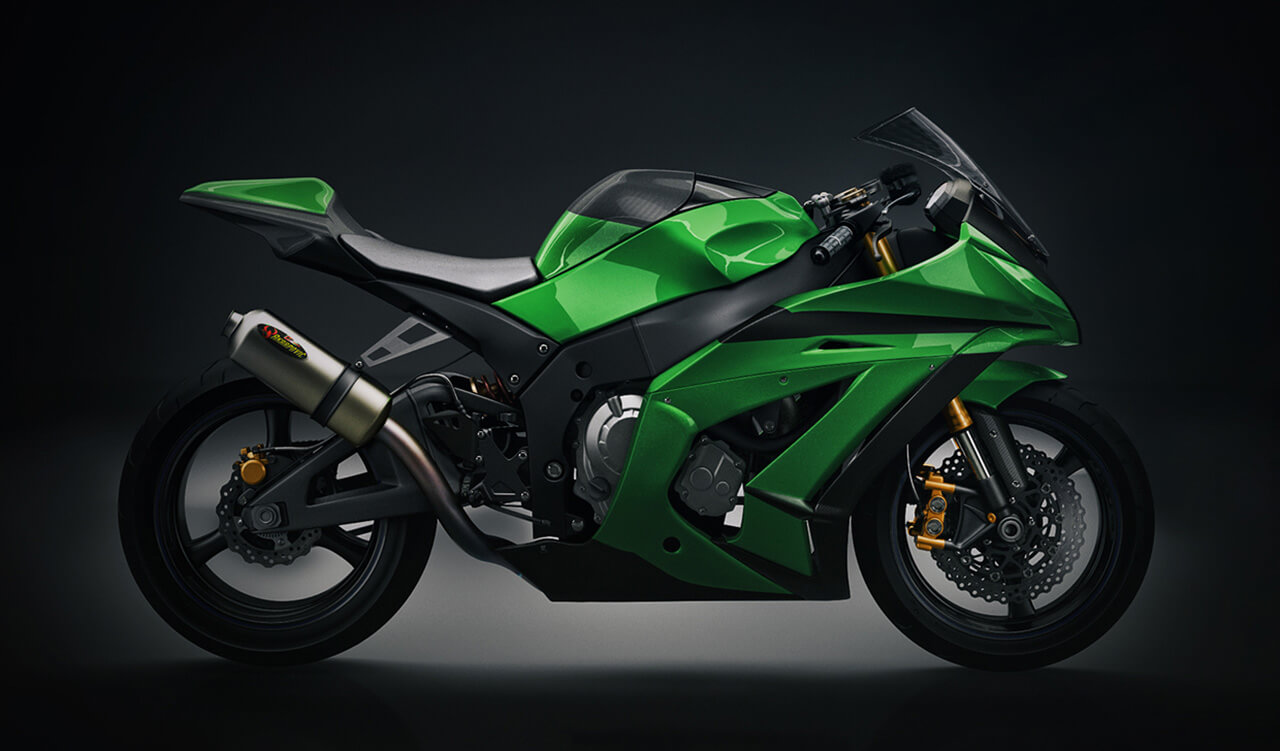 Computer Generated Rendered Image Green Racing Bike