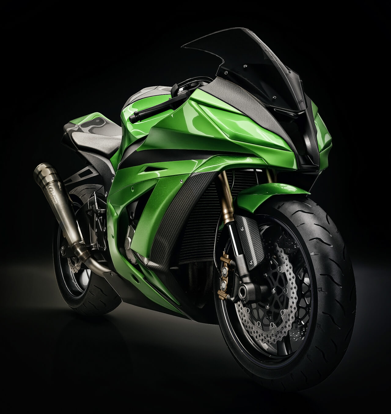 Computer generated image of a racing bike painted in green and black