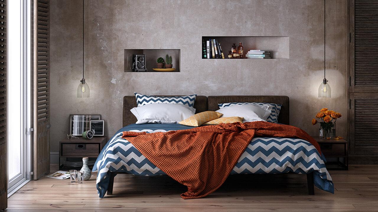 Computer Generated Interior Render of Rustic Bedroom