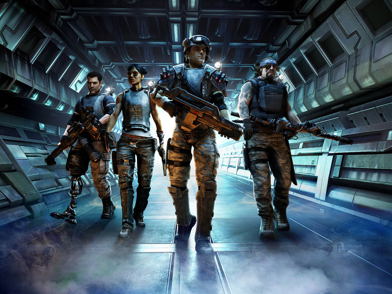 Video Game Computer Generated illustration of sci fi marines with weapons walking inside a futuristic spaceship