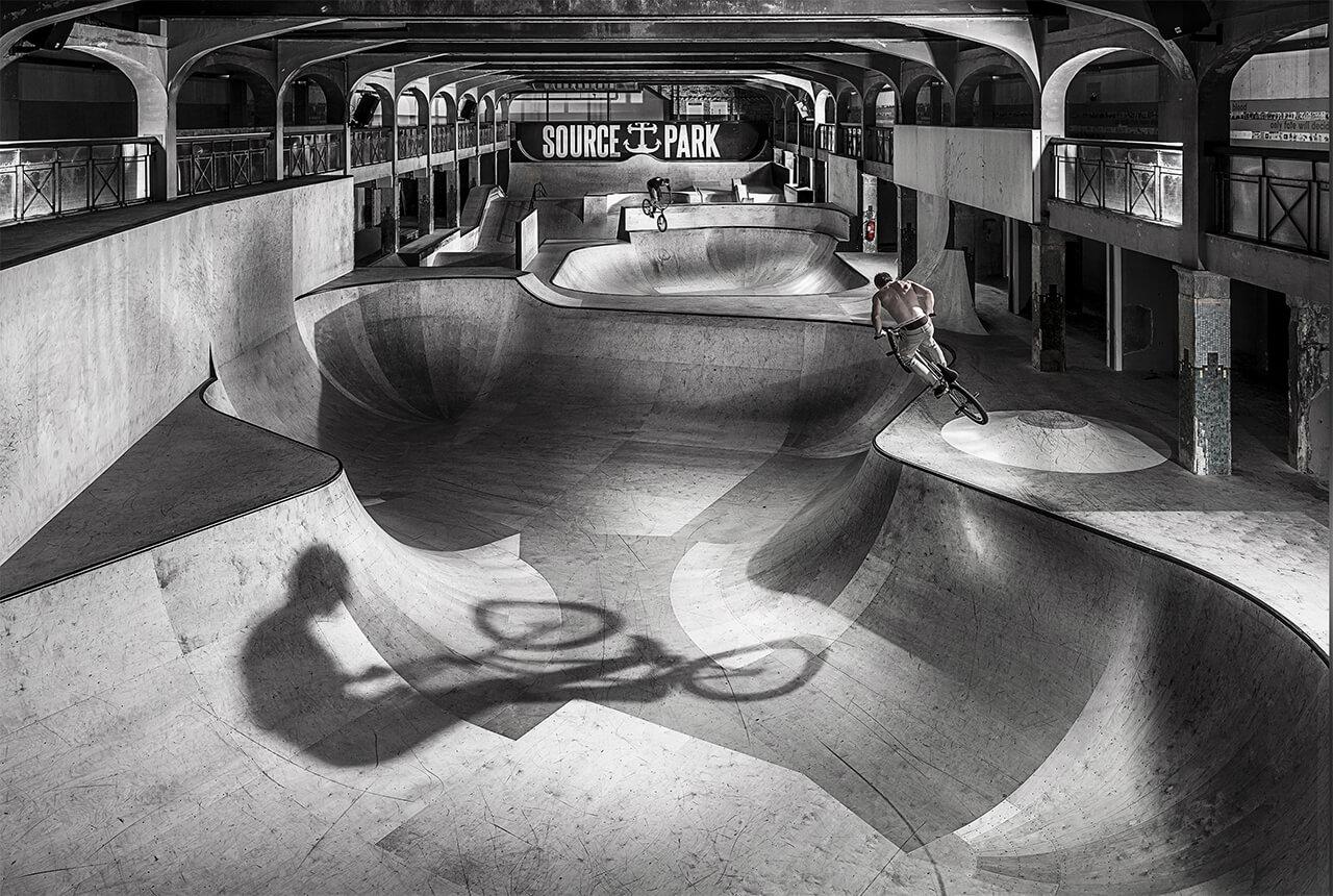 Image of Stunt Bike Riders Performing jumps in Skate Park