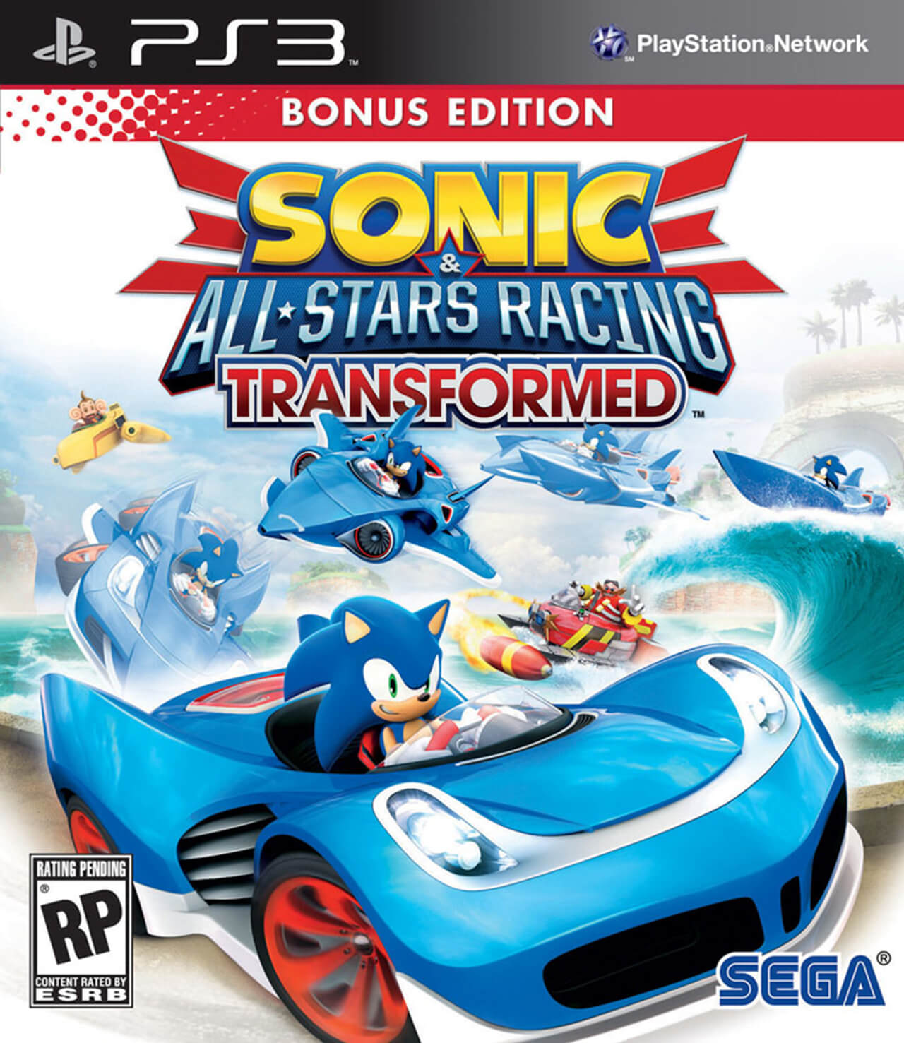 A computer Generated Image Of a Video Game Cover Featuring sonic the hedgehog in a car that has transformed from a boat and airplane