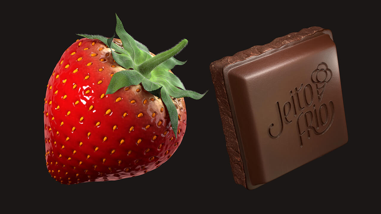 A computer generated image of a chunk of chocolate next to a strawberry