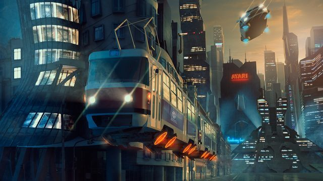 Computer generated image of a futuristic street at night with flying car and flying tram