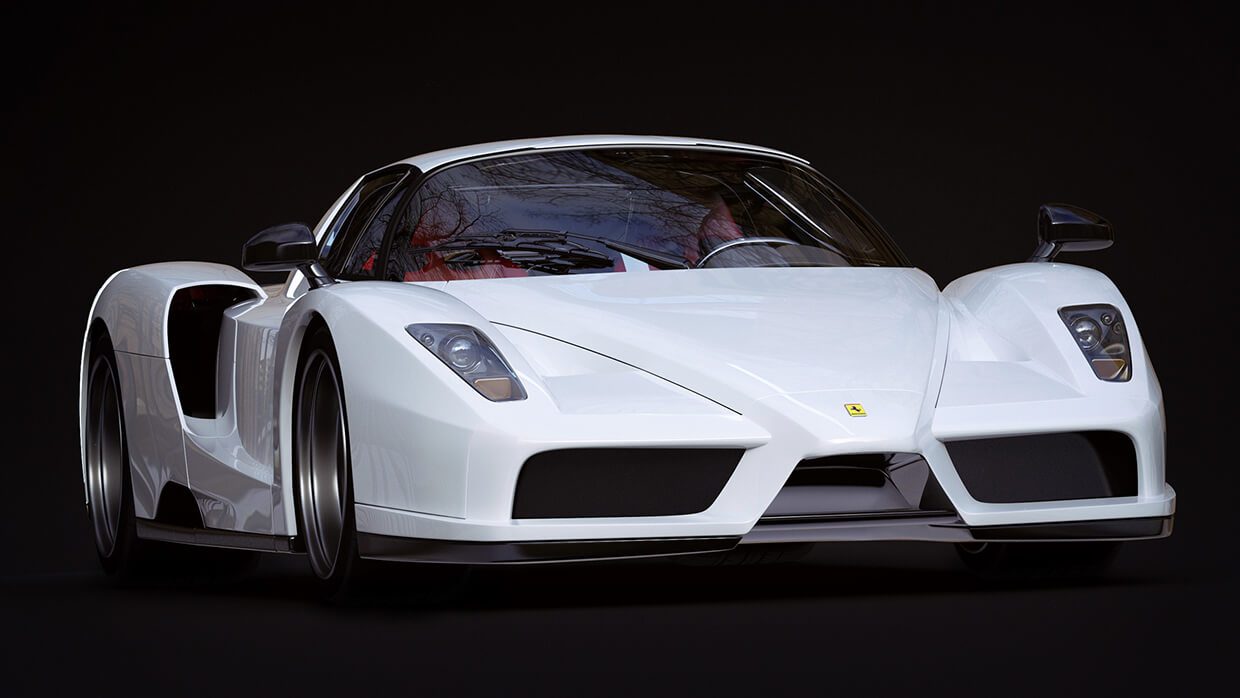 Image of White Ferrari Sports Car on an angle