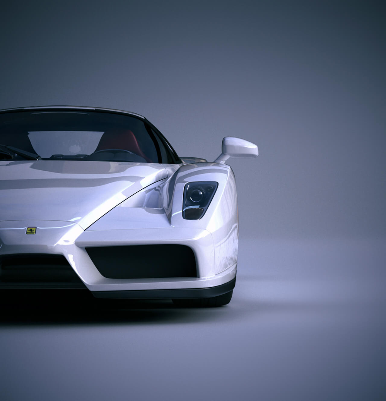 Computer generated image of front of white Ferrari sports car
