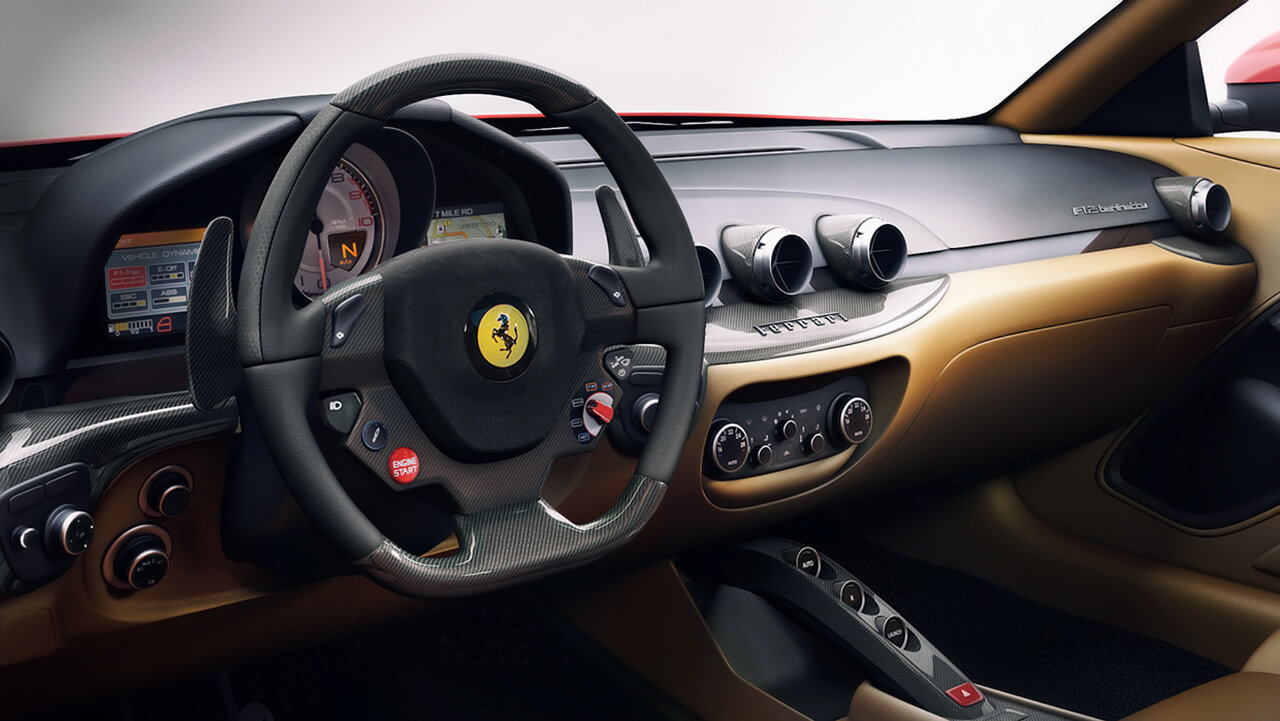 Computer generated image showing dashboard inside a Ferrari sports car