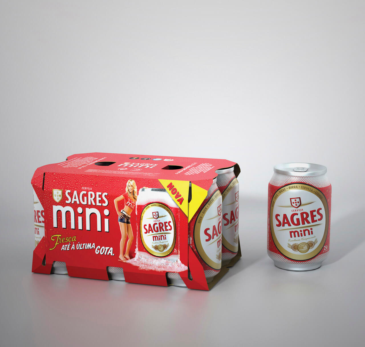 CGI product images of lager drinks packaging