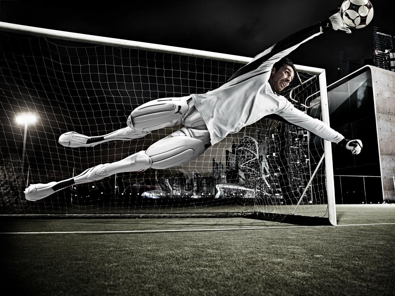 Futuristic Image Of Football Goalkeeper Buffon