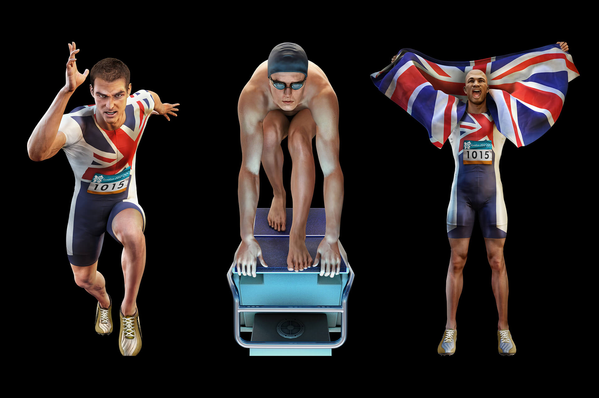 3d models of cg athletes rendered in 3dsmax to be used on video game pack art