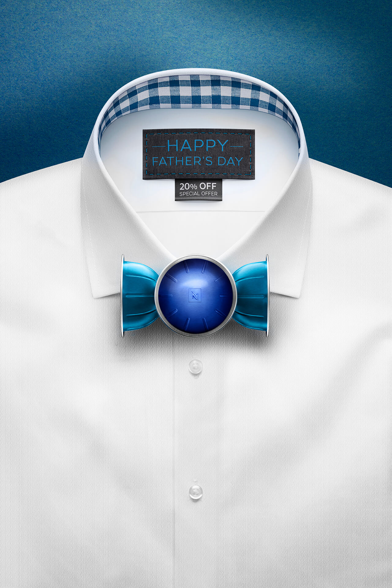 Computer Generated Illustration of shirt with nespresso pod bow tie